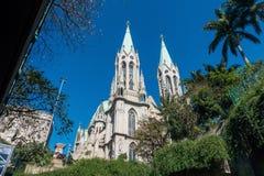 Cathédrale de Se à Sao Paulo du centre au Brésil Image libre de droits