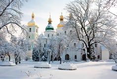 Cathédrale de Sophia de saint à Kiev en hiver Photos stock