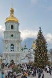 Cathédrale de Sophia de saint à Kiev, Ukraine Temps de Noël Photos stock