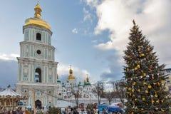 Cathédrale de Sophia de saint à Kiev, Ukraine Temps de Noël Photographie stock libre de droits