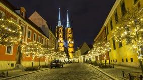 Cathédrale de St John à Wroclaw la nuit, Pologne Image stock