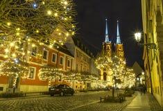 Cathédrale de St John à Wroclaw la nuit, Pologne Photo stock