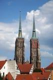 Cathédrale de St John le baptiste sur l'île de cathédrale de Wroclaw en Pologne - Ostrow Tumski images stock