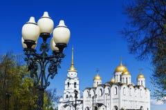 Cathédrale de supposition dans Vladimir Boucle d'or de la Russie Photographie stock libre de droits