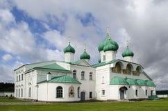 Cathédrale de transfiguration de la région Russie de Leningradsky de monastère d'Alexandre-Svirsky image libre de droits