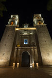Cathédrale de Valladolid la nuit Photos stock
