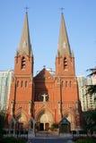 Cathédrale de Xujiahui en composition verticale Photographie stock