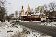 Cathédrale des nouveaux martyres et confesseurs de la Russie, secteur de Kuchino, région de Moscou Photo libre de droits