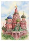 Cathédrale du ` s de St Basil d'aquarelle sur la place rouge à Moscou illustration stock