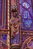 Cathédrale en verre Sainte Chapelle Pari de Wood Carving Stained de chevalier Images libres de droits