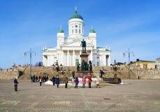 Cathédrale et monument de Helsinki à Alexandre II photos stock