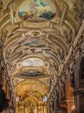 Cathédrale métropolitaine de plafond voûté de Santiago images libres de droits