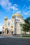 Cathédrale navale dans Kronshtadt, St Petersburg, Russie Images libres de droits