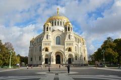 Cathédrale orthodoxe de Saint-Nicolas en ville Kronshtadt Photographie stock libre de droits