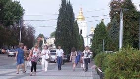 Cathédrale orthodoxe de St Mikhail à Kiev banque de vidéos