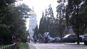 Cathédrale orthodoxe de St Sofia à Kiev banque de vidéos