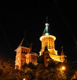 Cathédrale orthodoxe de Timisoara la nuit - Roumanie Photo stock