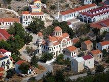 Cathédrale orthodoxe grecque, île de Megisti Photo stock