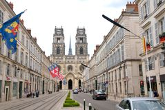 Cathédrale Sainte-Croix d'Orléans - Jean D Arc  street. Street view  - Cathédrale Sainte-Croix d'Orléans in Orleans, France Royalty Free Stock Photography