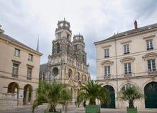 Cathédrale Sainte-Croix d'Orléans - Jean D Arc  street. View  of Cathédrale Sainte-Croix d'Orléans in Orleans, France Stock Image