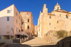Cathédrale St-Jean-Baptiste i citadellen på Calvi, Korsika Arkivbild