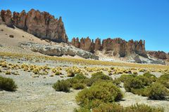 Cathédrales de roche en Salar de Tara Image libre de droits