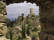 Cathars ruins of Chateau de Lastours. A castle ruin on top of mountains  from the 12the and 13the century for protection against Albigenzer crusades stock photo