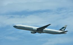 Cathay Pacific Airlines plane is departuring Stock Image