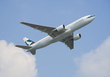 Cathay Pacific Boeing 777 departure from Hong Kong stock photo