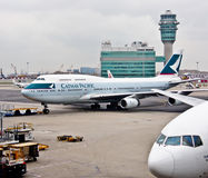 Cathay Pacific's air craft at the airport Stock Image