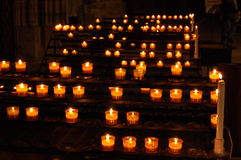 Cathederal Candles. A view of some of the Rosary candles in the Strassbourg catchederal in Strassbourg, France Stock Photo