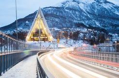 Cathedra ártico Noruega de Tromso Imagem de Stock Royalty Free