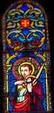 Cathedra do Baptistery de Victor Marseilles Martyr Stained Glass de Saint imagem de stock