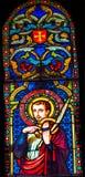 Cathedra för helgonVictor Marseilles Martyr Stained Glass Baptistery fotografering för bildbyråer
