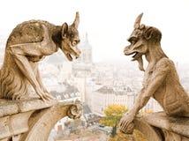 Cathedra van Parijs Notre Dame demonnen Stock Foto