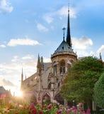 cathedral贵妇人・ de notre巴黎日落视图 免版税图库摄影