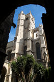 Cathedral 1. One of the towers of the Cathedral of Narbonne from the cloister stock photos