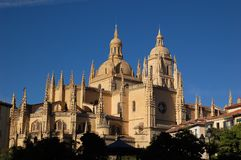 Cathedral 1. Apse, pinnacles and cupola view of the Cathedral of Segovia, Spain Stock Photos