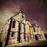 Cathedral. Old cathedral with purple sky and birds flying Royalty Free Stock Photo