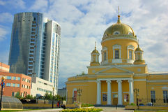 Cathedral. And office building in Yekaterinburg, Russia Stock Photo