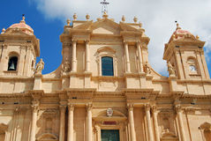 Cathedral. Façade of the Cathedral of St. Nicholas of Myra (finished 1776) in Noto, Sicily royalty free stock photography