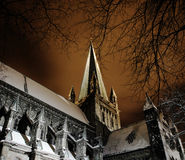 Cathedral. The Nidarosdomen Cathedral in a winter night Stock Photos