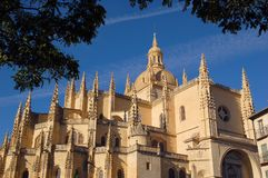 Cathedral 2. Apse, pinnacles and cupola view of the Cathedral of Segovia, Spain stock images