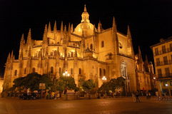 CATHEDRAL. In Segovia (Spain) at night from Plaza Mayor square royalty free stock image