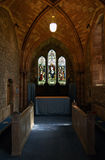 Cathedral. Old protestant church at Brecon, Wales. Benches, arches royalty free stock images
