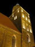 Cathedral. Night view of our cathedral church. Big wooden cross in the front Royalty Free Stock Photo