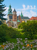 Cathedral. Wavel Castle Cathedral and the park in Cracow, Poland Stock Image