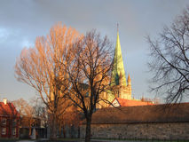 Cathedral. The medieval cathedral (Nidarosdomen) in Trondheim, Norway stock image