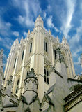 Cathedral. Details framed by a dramatic sky stock image