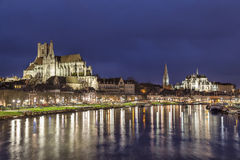 Cathedral and Abbey in Auxerre, France Royalty Free Stock Photos